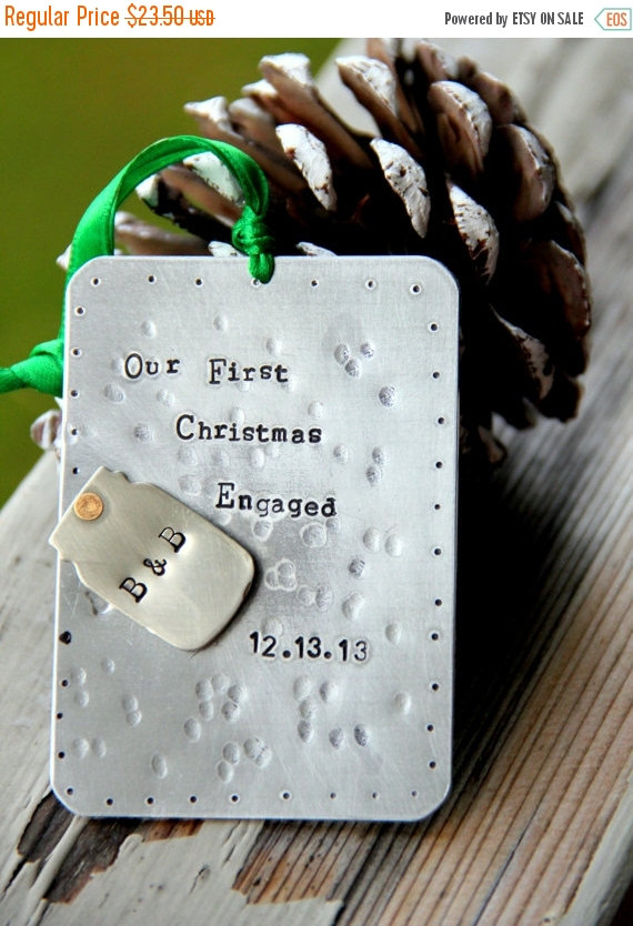 handstamped mason jar tin silver engaged christmas ornament by whiteliliedesigns