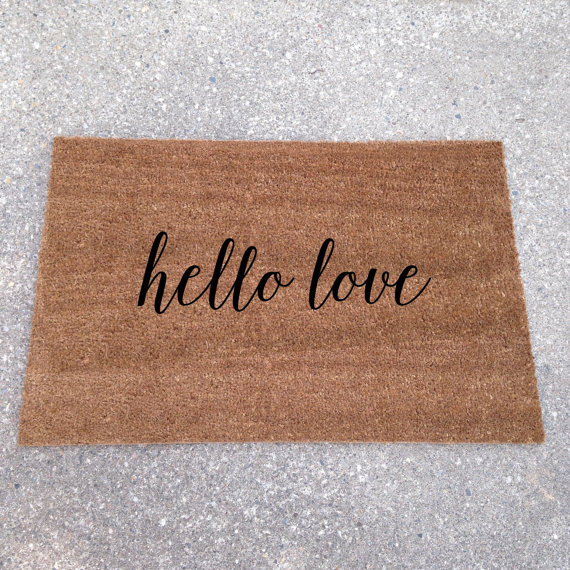 hello love doormat - custom doormats etsy collection from LoRustique   http://emmalinebride.com/gifts/custom-doormats-etsy/