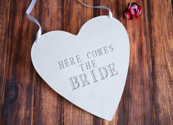 here comes the bride sign - ring bearer pillow ideas