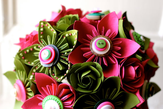 hot pink and green paper wedding flowers