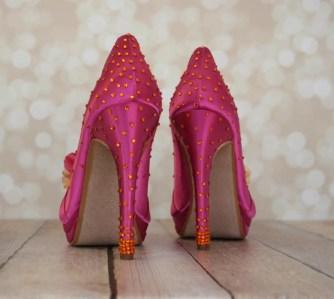 hot pink and orange jeweled wedding shoes