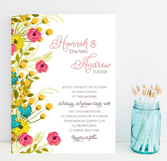 hot pink and yellow floral wedding invitations