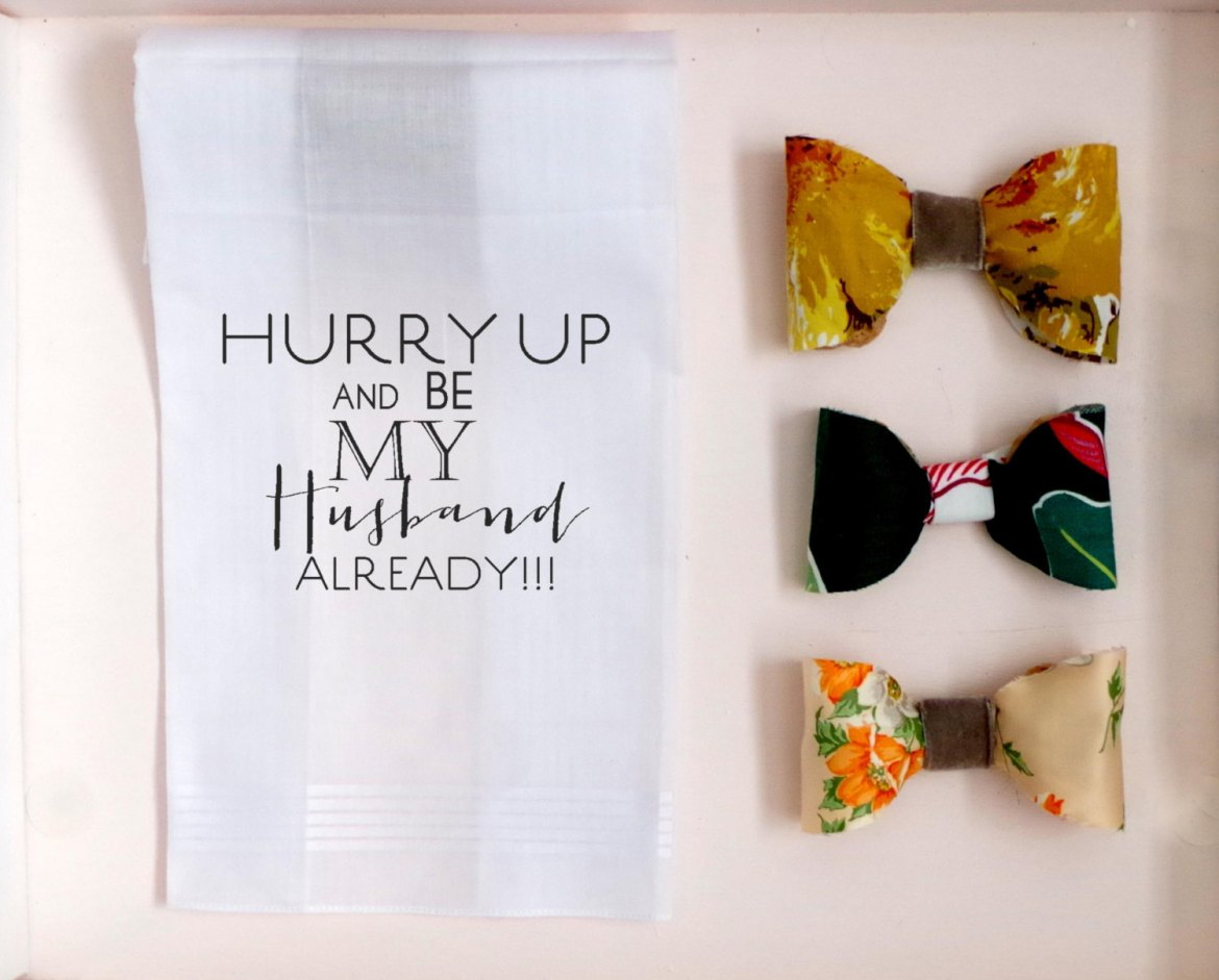 hurry up and be my husband already handkerchief wedding hankies | personalized wedding handkerchiefs | http://emmalinebride.com/gifts/personalized-wedding-handkerchiefs/