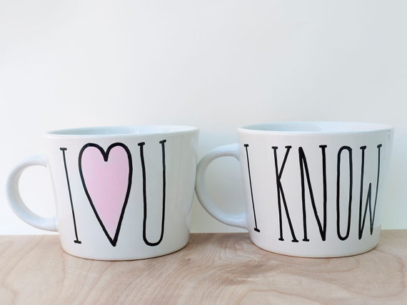 20 Valentines Day Gift Ideas - i love you i know mugs