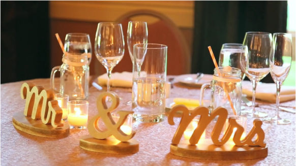 Mr. and Mrs. wedding table decor