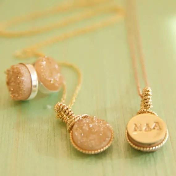 initial ampersand necklace druzy | druzy bridesmaid jewelry
