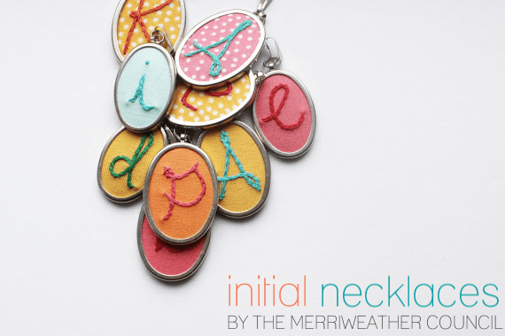 Embroidered initial necklaces by The Merriweather Council via EmmalineBride.com