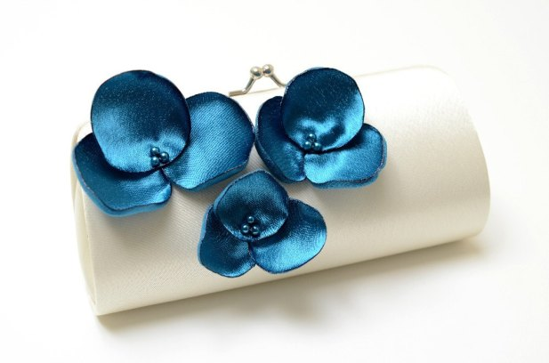 ivory wedding clutch with teal flowers - Teal Wedding Accessories from Fallen Sparrow