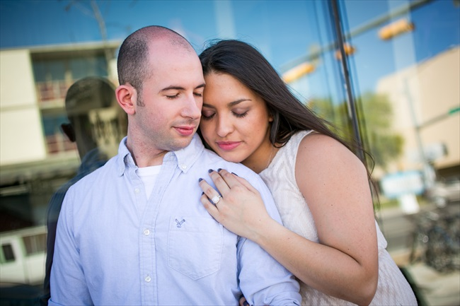 engaged couple showing off ring at their Fun Austin Engagement Session | Photographer: Adrianne Riley Photography | via http://emmalinebride.com/real-weddings/fun-austin-engagement-session-priscella-jerry/