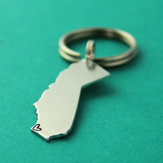 Best Bridesmaid Gifts from A-Z (via EmmalineBride.com) - keychain with state by spiffing jewelry