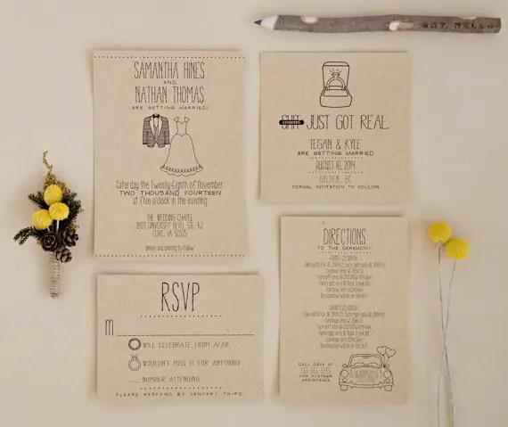 kraft and black typography wedding invitation shit just got real via 8 Whimsical Wedding Invitations