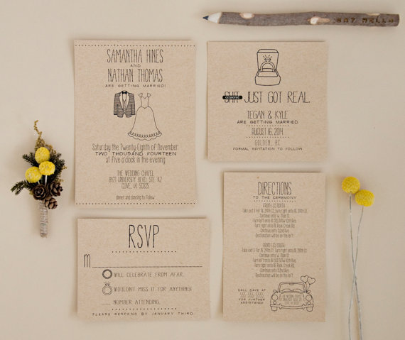 Kraft And Black Typography Wedding Invitation Shit Just Got Real Via 8 Whimsical  Wedding Invitations