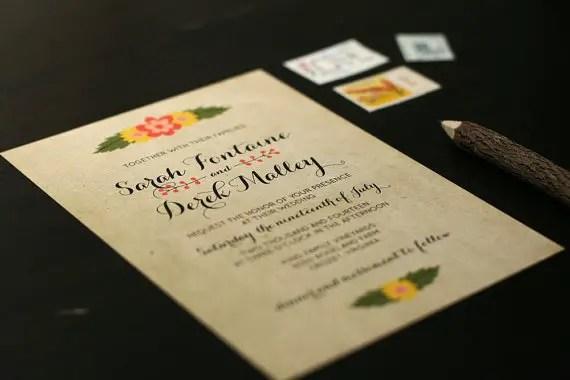 Kraft Wedding Ideas That Work (via EmmalineBride.com) - invitation by Crafty Pie