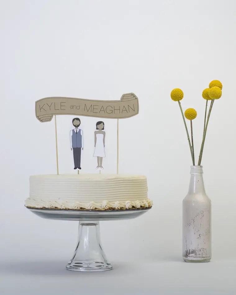 Banner Wedding Cake Topper