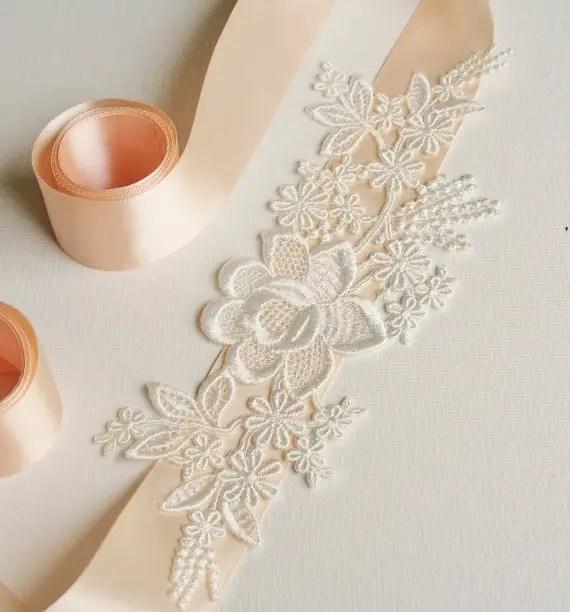 lace bridal sash 2