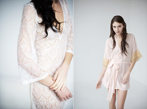 lace robe bridal intimates pink robe with gold sleeves (by Tessa Kim)