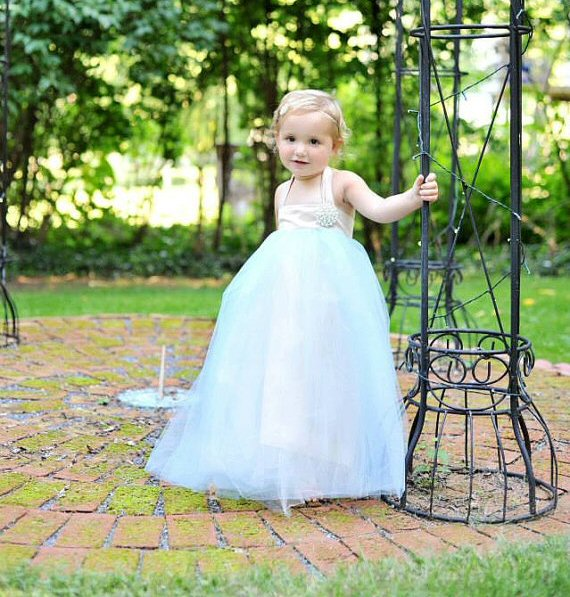 light blue flower girl tutu dress