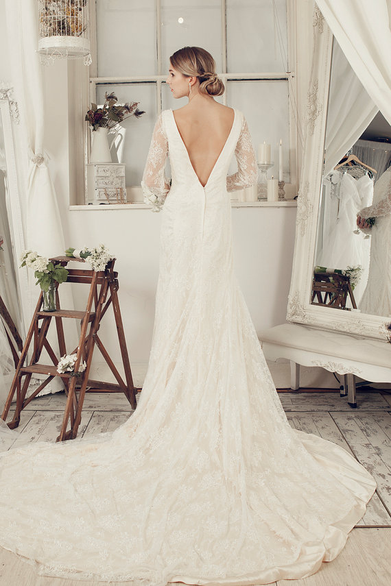 long sleeve deep v back etsy wedding dresses with train