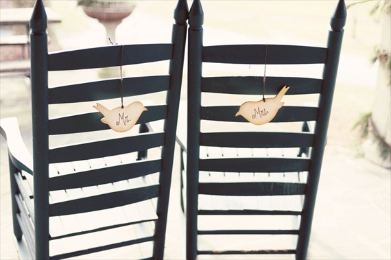 Bird Themed Wedding - Love Bird Chair Signs by PNZ Designs (photo: Melania Marta)
