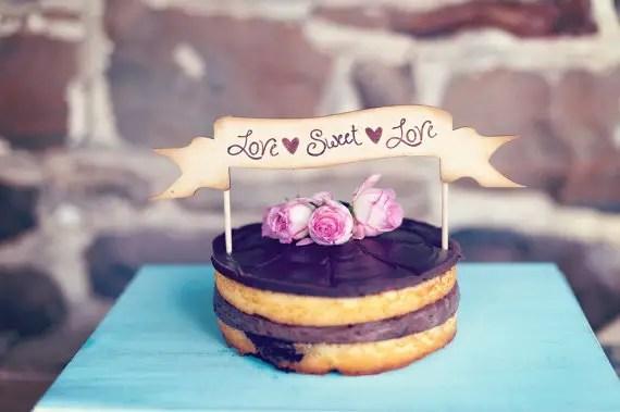8 Fresh Rustic Wedding Decor Ideas - love sweet love cake topper (by PNZ Designs, photo: Melania Marta Photography)