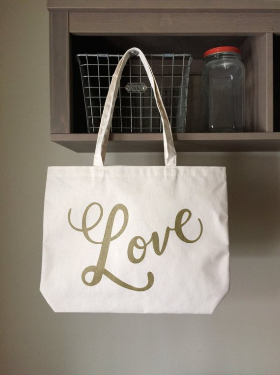 Love Tote Bag   What to Put in Wedding Welcome Bags   http://emmalinebride.com/planning/wedding-welcome-bags/
