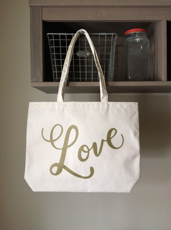 Love Tote Bag | What to Put in Wedding Welcome Bags | http://emmalinebride.com/planning/wedding-welcome-bags/