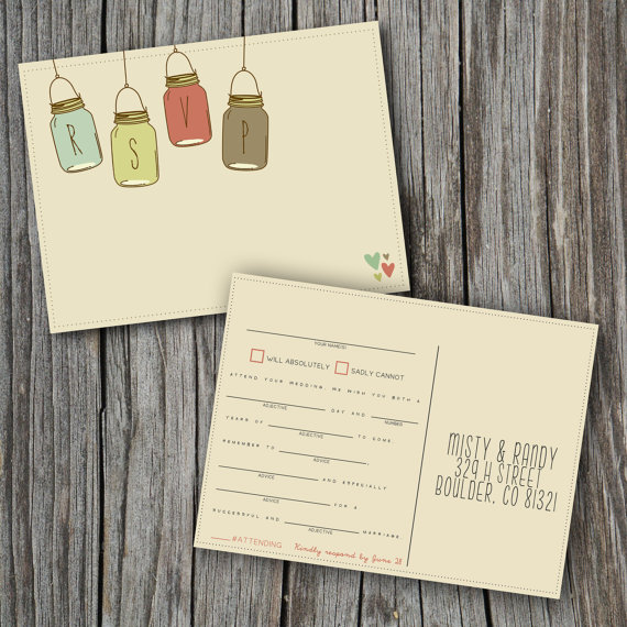 Mad Lib Wedding RSVP Card (by Splash Of Silver) // rsvp mad libs #handmade #wedding