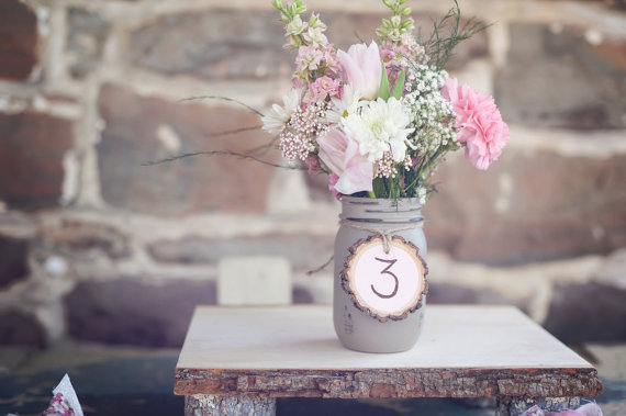 7 Unique Table Number Holders - mason jar table number holder by pnz designs