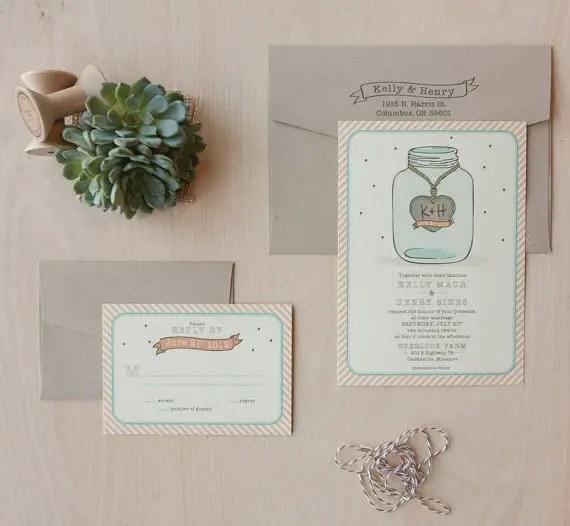 Mason Jar Wedding Invitations (by Jen Simpson Design)