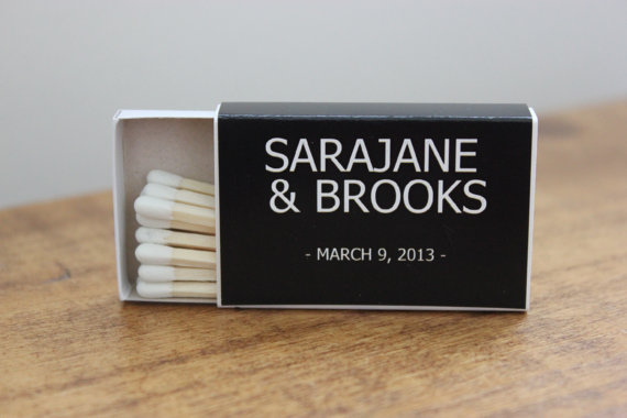 7 Wedding Sparkler Mistakes to Avoid via EmmalineBride.com - not enough matches! (matchbox favor boxes by hope & fancy)