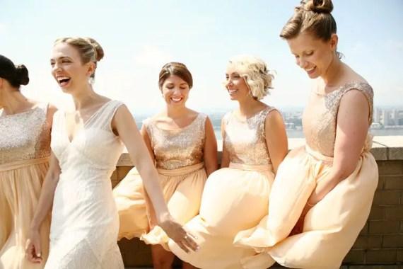Gold Chiffon Bridesmaid Dresses with Sequin Bodice | by Dahl | http://emmalinebride.com/bridesmaids/gold-chiffon-bridesmaid-dresses/