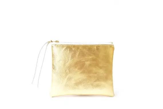 metallic gold cosmetic bag