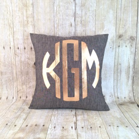 metallic gold monogram wedding pillow