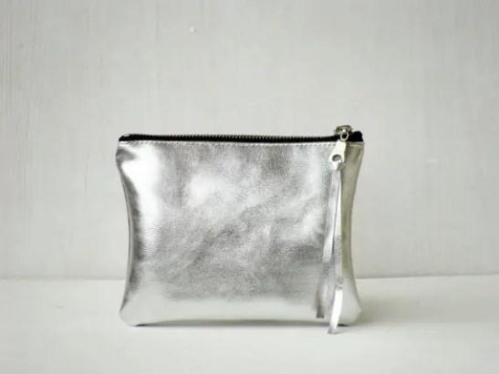 metallic silver cosmetic bag