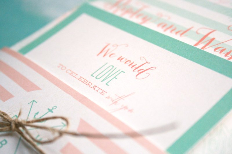 mint and coral invitations | Coral and Mint Wedding http://emmalinebride.com/color/coral-and-mint-wedding/