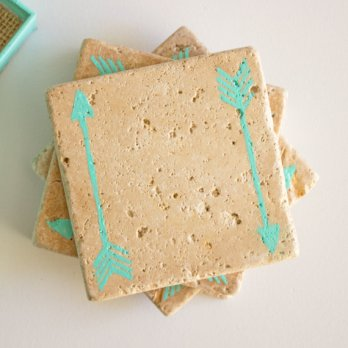 mint arrow wedding favor coasters