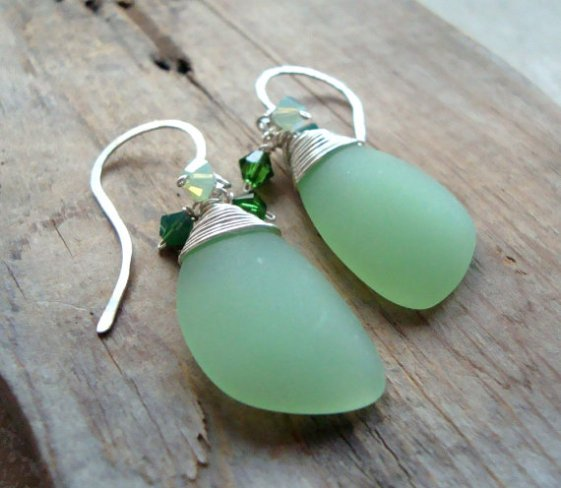 mint green sea glass earrings by fuchsia bloom studio