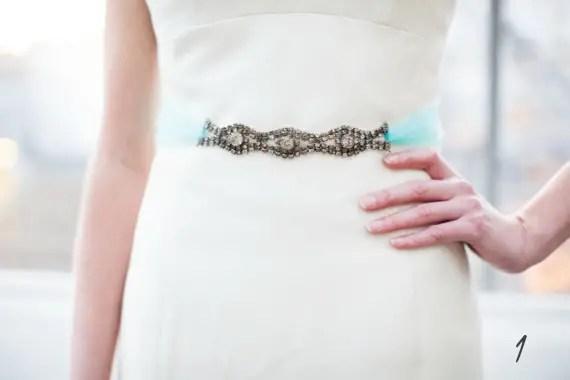 18 Modern Ideas for Something Blue via Emmaline Bride - dress sash by The Ritzy Rose