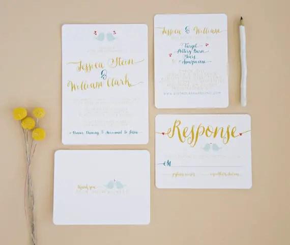 modern teal and gold via 8 Whimsical Wedding Invitations