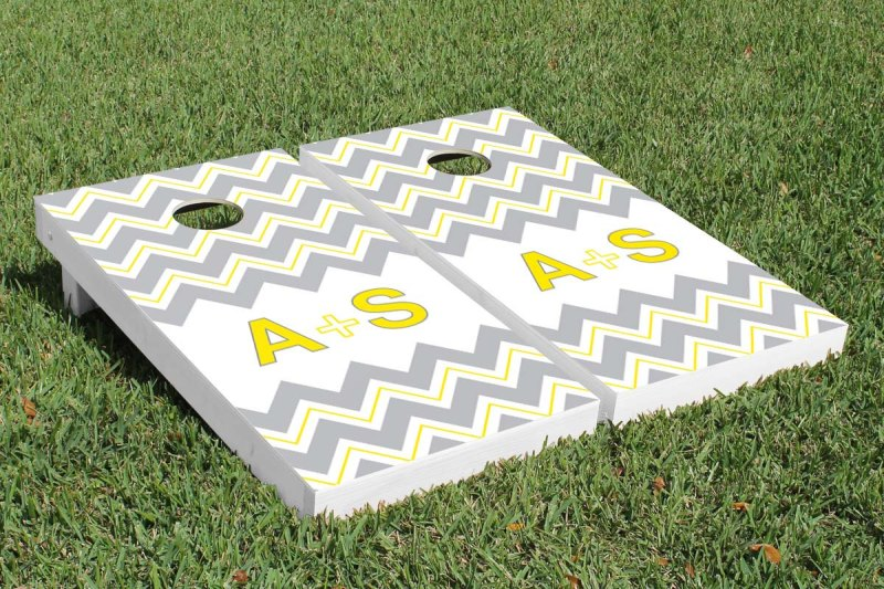 monogram cornhole wedding boards