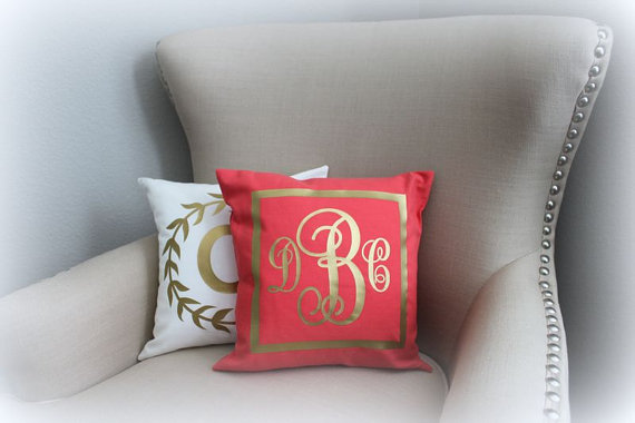 monogram gold foil pillow | monogrammed bridesmaid gifts