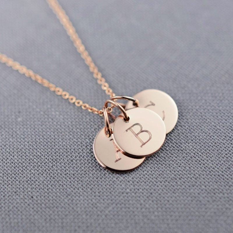 monogram necklace rose gold