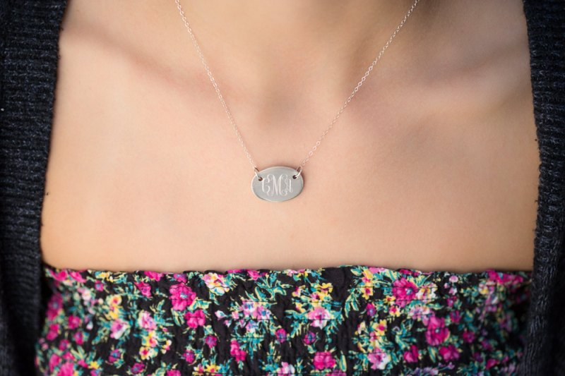 monogram necklace via Monogram Gift Ideas Bridesmaids from EmmalineBride.com