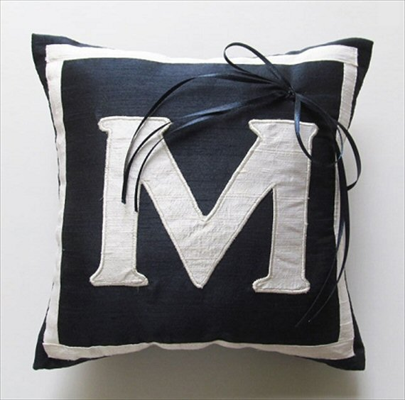 6 Clever Ways to Personalize Your Wedding (monogram ring pillow: comfy heaven)