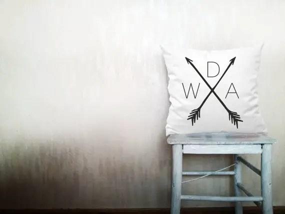 monogrammed arrow wedding pillow