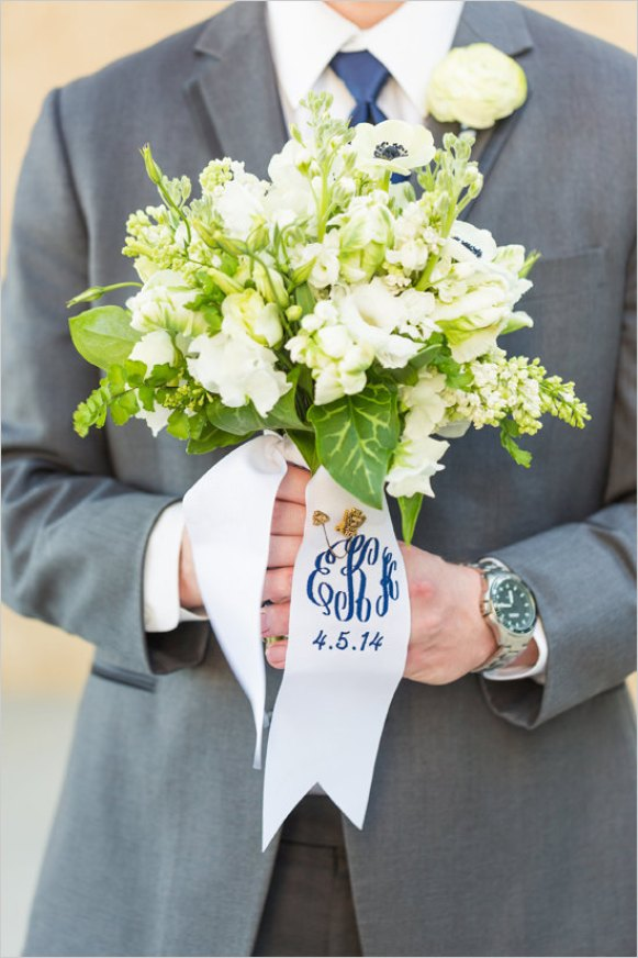 Monogrammed Bouquet Ribbons for Weddings | by Oatmeal Lace Design. Photo:Lauren Rosenau Photography.
