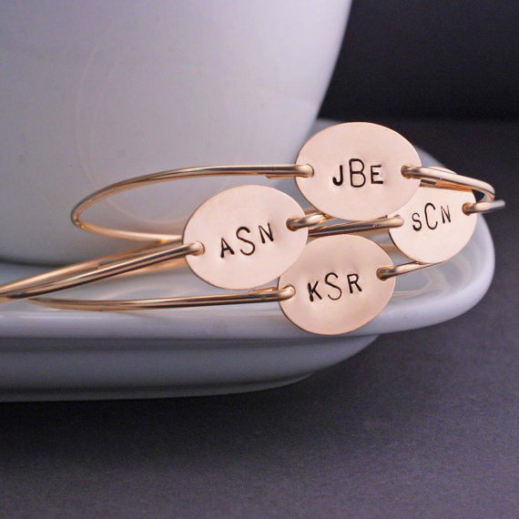 Chic monogrammed cuff bracelet for your handmade wedding. By Georgie Designs.