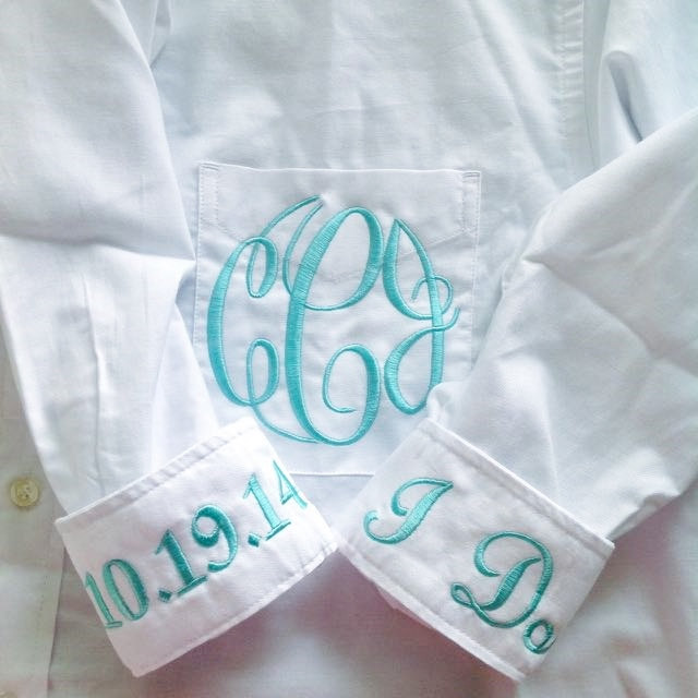 monogrammed bride button down shirt | via 10 NEW Something Blue Ideas | http://emmalinebride.com/bride/new-something-blue/