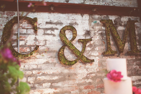 moss wedding decor filled letters