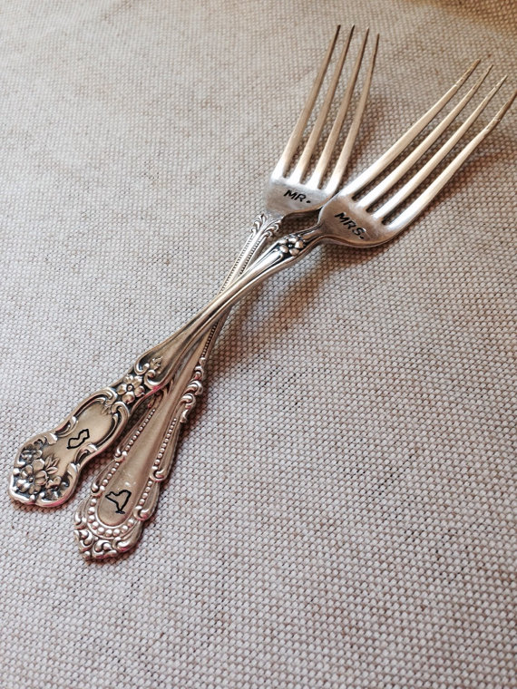 mr and mrs stamped forks